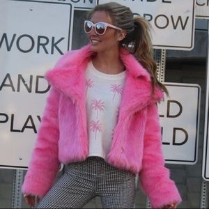 Jackets & Blazers - Pink Faux Fur Jacket